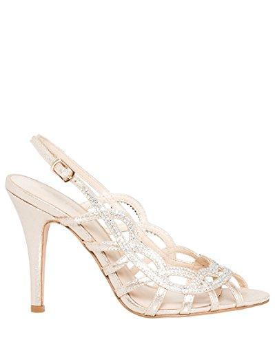 LE CHÂTEAU Women's High Heel Jeweled Metallic Cage Slingback Sandal,8,Light - Heel High Jeweled