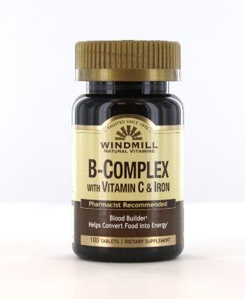 Windmill B-Complex Tablets with Vitamin C and Iron Supplement - 100 Ea (B Complex With Vitamin C And Iron)
