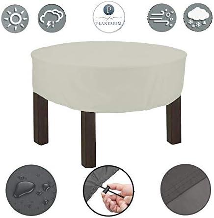Planesium - Funda protectora para mesa de jardín (redonda, resistente a rasguños, transpirable, impermeable, 150 cm de diámetro x 15 cm), color blanco: Amazon.es: Jardín