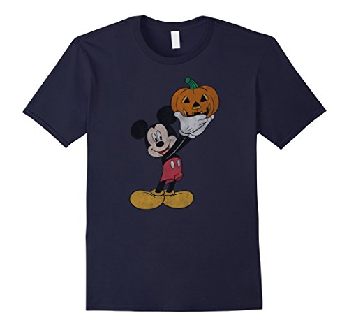 Disney Halloween Shirt (Mens Disney Mickey Mouse Pumpkin Halloween T Shirt Large Navy)