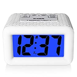 iCKER Digital Alarm Clock with Backlight and Snooze, Smart Light with Dimmer, Battery Operated Travel Clock,White