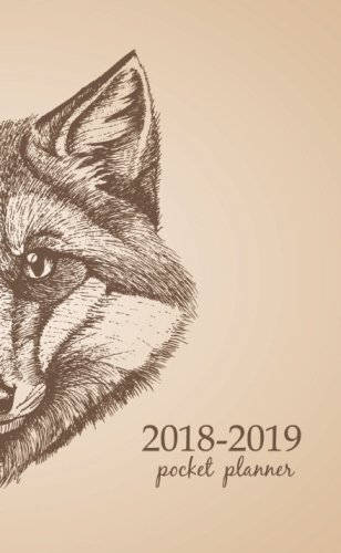 2018-2019 Pocket Planner: 2 Year Pocket Monthly Calenda Planner 4 x 6.5 inch Black and White Art Fox for men. (Volume 34)