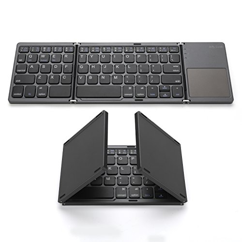 Foldable Bluetooth Keyboard, Jelly Comb Pocket Size Portable Mini BT Wireless Keyboard with Touchpad for Android, Windows, PC, Tablet, with Rechargable Li-ion Battery (Ipad Mouse Wireless And Keyboard)