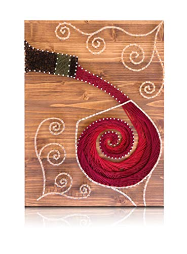 String Art Kit - Wine String Art, Adult Crafts Kit, DIY Crafts, Arts and Crafts Kit, Wine Decor, String Art Pattern and Supplies, Arts and Crafts for Adults]()
