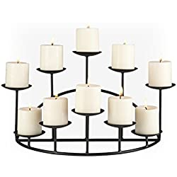 SEI Southern Enterprises 10 Candle Candelabra, Matte Black Finish