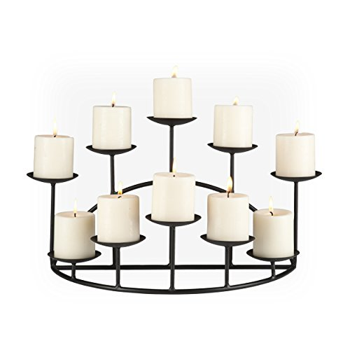 SEI Southern Enterprises 10 Candle Candelabra, Matte Black Finish