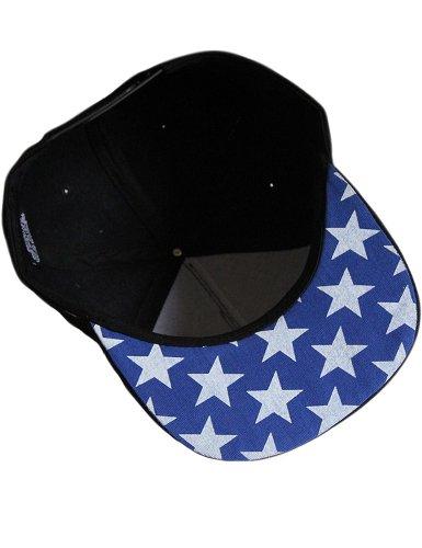 Estrellas Snapback Estilo de USA Hombre Parche Plana SSLR Negro Cap Gorra qtfA0nBH