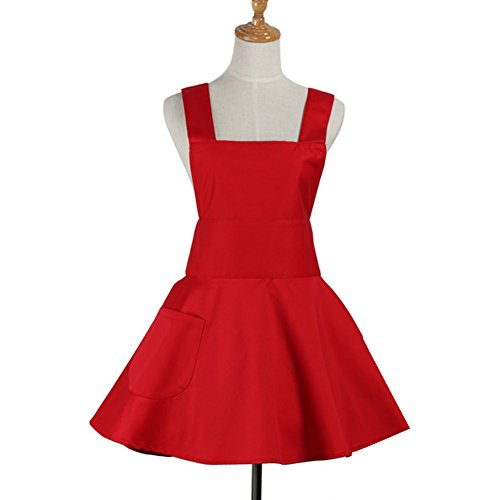Aspire Aprons for Women with Pocket Kitchen Apron Craft Cooking Gardening Apron Bulk-Red -