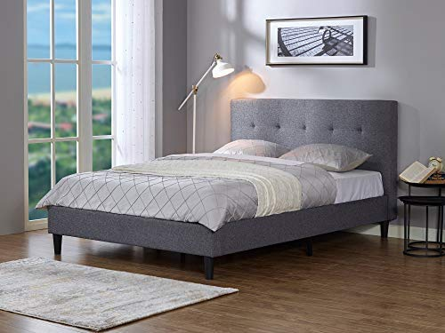 MUSEHOMEINC Upholstered Knighthood Platform Bed/No Boxspring Needed, King - All-in-One style simple and modern platform bed. Dark Grey faux-linen make your bedroom looks warm and comfort. Easy assembly bed frame, no boxspring needed, please pull-open the velcro on the back of headboard, all components (footboard, side-board, wood slats, metal support, plasitc legs etc.) are inside. - bedroom-furniture, bedroom, bed-frames - 41KVDhwGHHL -