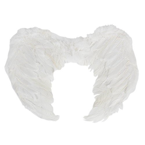 Feather Angel Wings Christmas Halloween Fancy Dress Costume Hen Night Party (6545CM, White) -
