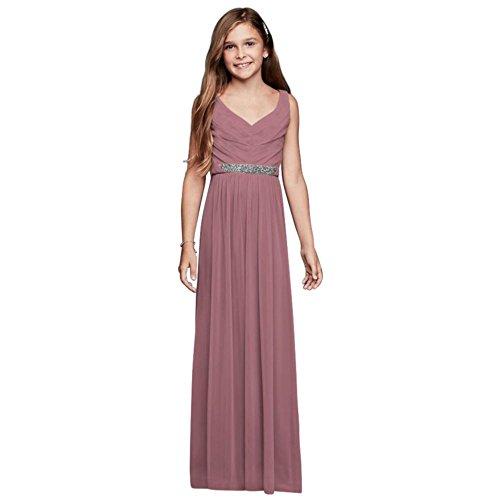 Beaded Waist Long Mesh Junior Bridesmaid Dress Style JB9609, Quartz, 18