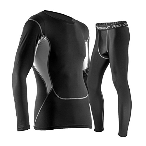 Odowalker Men's Sports Compression Set of TOP & UNDER Athletic Baselayer Tights Set Black Exercise Clothes Workout Bodysuit Ultra Thin Running Fitness Fast Cool Dry Suit