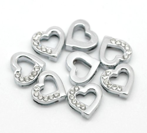 Rhinestone Heart Slide - Rockin Beads Brand, Heart Rhinestone Antiqued Silver Slide on Charm Beads for Leather, Ribbon Bracelets or Chokers 13mm, Sold Per Pack of 20