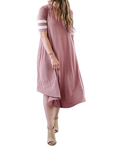 Syktkmx Womens Plus Size Short Sleeve Baseball Loose Flare Maternity Midi Tshirt (Baseball Jersey Dresses)