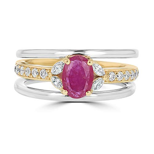 IGL Certified 14K Two Tone Yellow & White Gold Diamond Ring with Natural Ruby-Size 6 (Re-Sizable) ()
