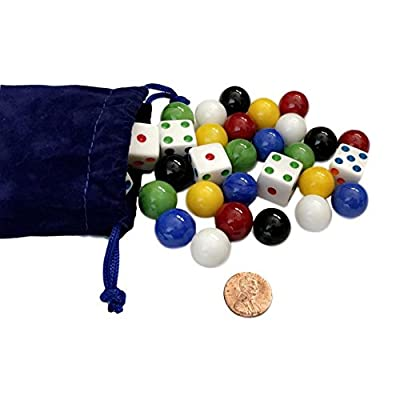 AmishToyBox.com Game Bag of 24 Glass Marbles (16mm Diameter) and 6 Dice for Aggravation Game: Toys & Games