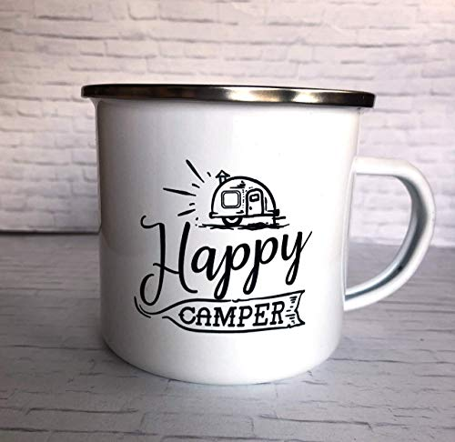 Happy Camper 10 ounce Camp Mug (Enamel Globe)