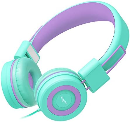 Elecder i37 Kids Headphones Children Girls Boys Teens Foldable Adjustable On Ear Headphones 3.5mm Jack Compatible iPad Cellphones Computer MP3 4 Kindle Airplane School Tablet Green Purple