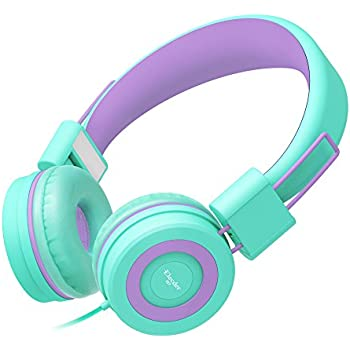 Elecder i37 Kids Headphones Children Girls Boys Teens Foldable Adjustable On Ear Headsets 3.5mm Jack Compatible iPad Cellphones Computer MP3/4 Kindle Airplane School Tablet Purple/Green