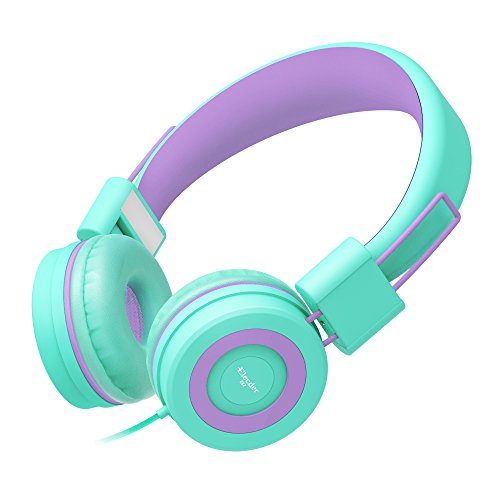 Elecder Kids Headphones with Microphone for Children, Girls, Boys, Teens, Adults, Foldable Adjustable Over Ear Headsets for iPad Cellphones Computer MP3/4, i37 (Green/Purple)