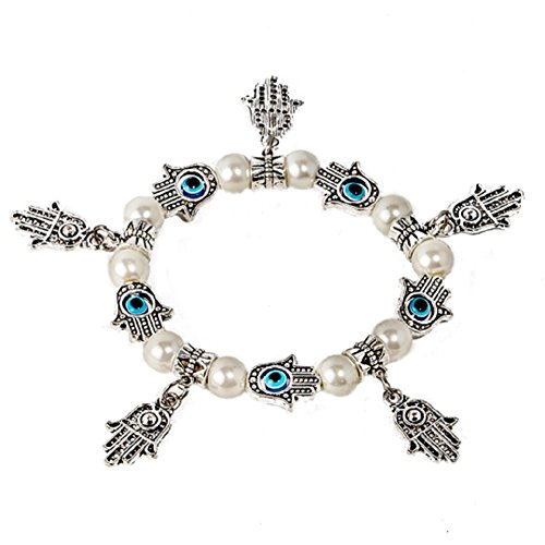 Silver Shell Pearl Bracelet - Kabbalah stretched bracelet with mother of pearl shell beads and evil eye silver plated 10 lucky Hamsa