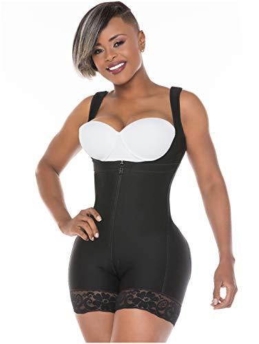Salome 0217 Fajas Colombianas Reductoras y Moldeadoras Postparto Colombian Full Body Shaper Postpartum Underbust Shapewear Fajas for Women Black XL