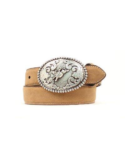 [Nocona Boys' Bull Rider Buckle Distressed Leather Belt Brown 24] (Bull Rider Buckle)
