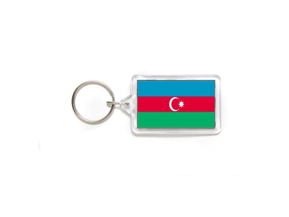Azerbaijan Azerbaijani Flag Double Sided Acrylic Key Ring Small
