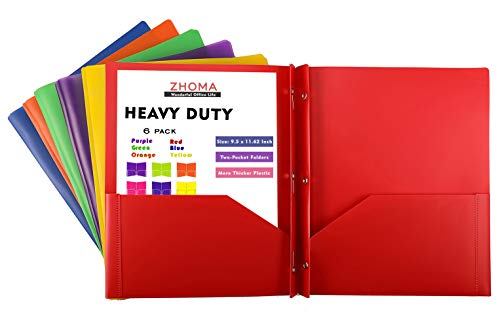 (Plastic File Folders - 2 Pocket Folders with Metal Prongs Fastener Clasps 6 Pack - Assorted Primary Colors)