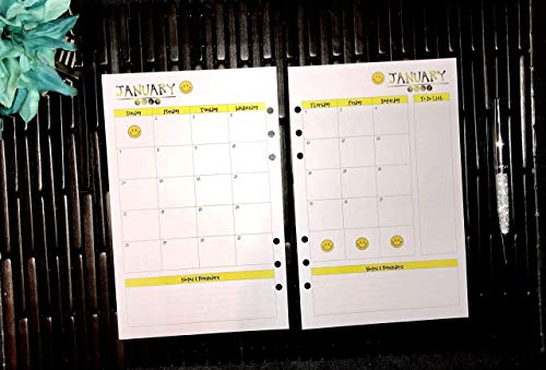 (2019 2020 2021 2022 Monthly A5 Planner Inserts, Paper Refills for Filofax, Kikki K, Mulberry, Webster's, Simple Stories, Day Timer, Day Designer and Half Letter Size 5.8