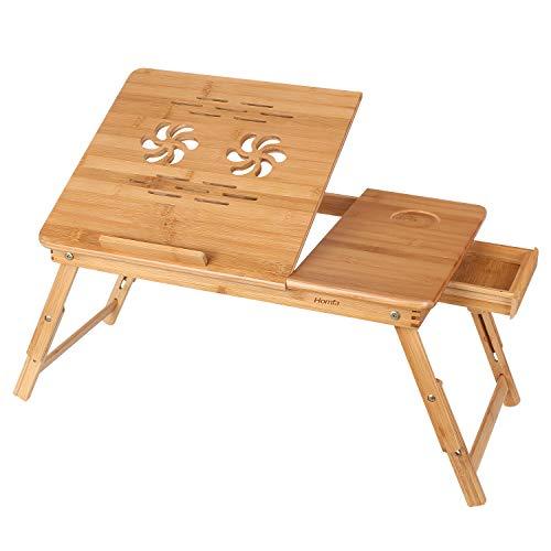 HOMFA Mesa para Ordenador portatil Mesa de cama Bambu Mesa auxiliar con cajon lateral 55x35x(22-30)cm
