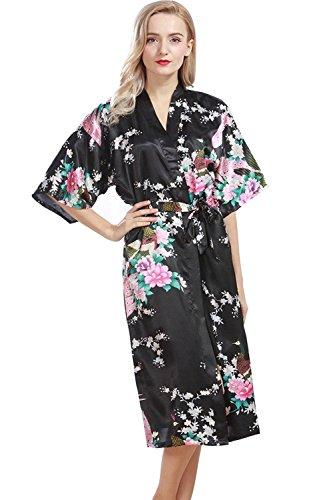 Lucao Women's Silk Robe Plus Size Satin Printed Peacock Sleepwear Multicolor Bathrobe