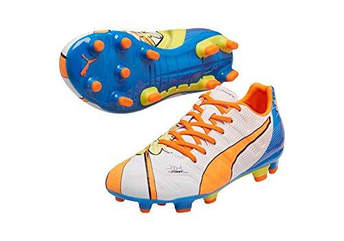 PUMA Evopower 3.2 Pop Fig JR Fußballschuh (Kind / Kleinkind / kleines Kind / großes Kind) Weiß / Orange Clown-Fische / elektrische blaue Limonade