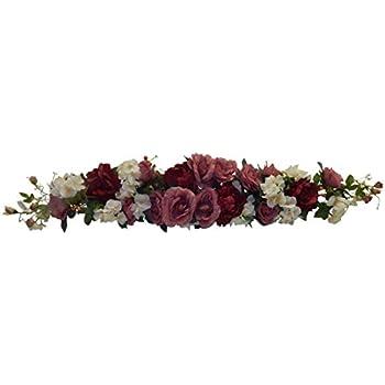 Amazoncom Burgundy Swag Roses Hydrangea Silk Wedding Flowers Arch