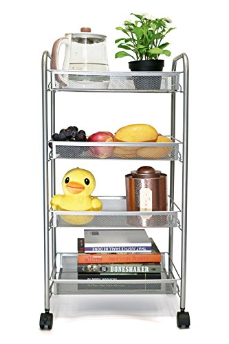 EXILOT 4-Tier Mesh Wire Rolling Cart Multifunction Utility Cart Kitchen Storage Cart on Wheels, Steel Wire Basket Shelving Bathroom Trolley,Easy moving (silver) (Baskets For Shelving Units)