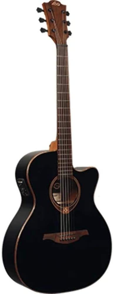 LAG T118ACE BLK - Guitarra electroacústica (parte superior sólida), color negro y rojo