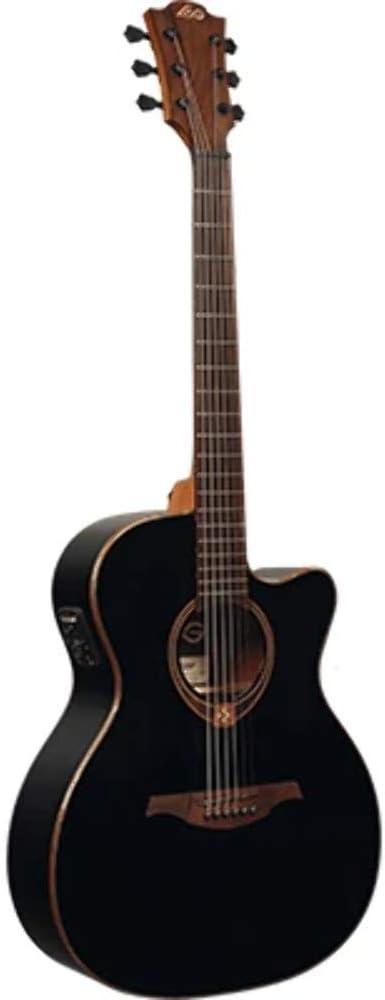 LAG T118ACE BLK Auditorium - Guitarra electroacústica (parte superior de cedro roja)