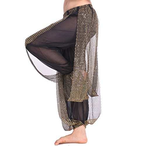 MUNAFIE Belly Dance Harem Pants Arabic Halloween Lantern Shiny Pants Fancy Pants US0-14 Black (Belly Dance Harem Pants For Women)