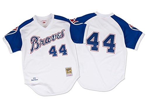 Mitchell & Ness Hank Aaron Atlanta Braves Cooperstown Authentic Throwback Jersey-#44 White (Authentic Throwback White Jersey)