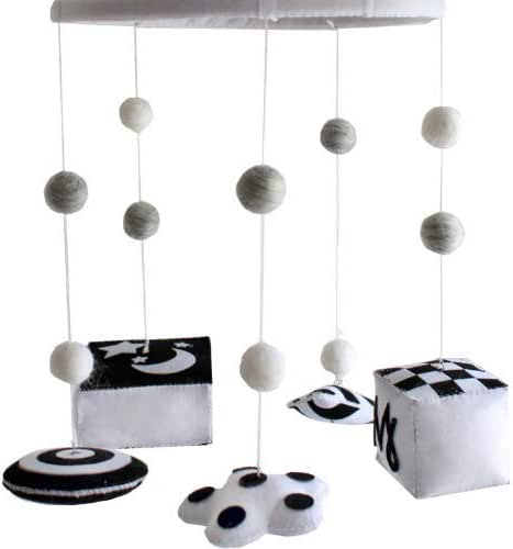 Reversible Baby Mobile - Brain Development Infant Stim Mobile Gives Visual Stimulation to Engage Your Newborn - Handmade Black and White Felt Nursery Decor for Boy or Girl