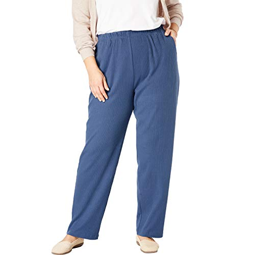 - Woman Within Women's Plus Size 7-Day Knit Ribbed Straight Leg Pant - Light Indigo, 1X
