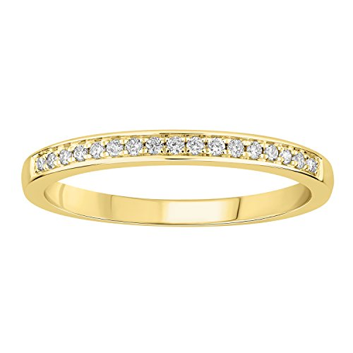 0.14 cttw 14k Gold Round I-J White Diamond Ladies Anniversary Wedding Band Stackable Ring (yellow-gold, 7) by eSparkle