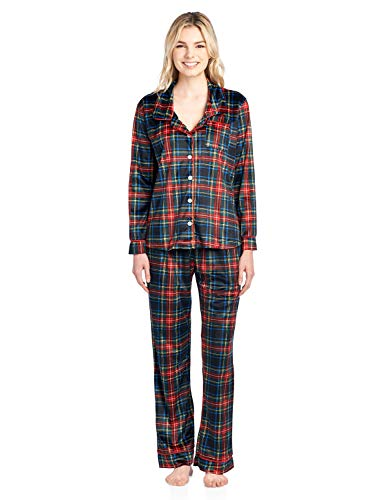 Ashford & Brooks Women's Long Sleeve Minky Micro Fleece Pajama Set- Black Stewart- Large