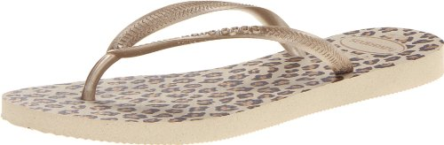 Havaianas Women's Slim Animal Flip Flop Sandal, Sand Grey, 41/42 BR (11-12 M US) Animal Print Flip Flop