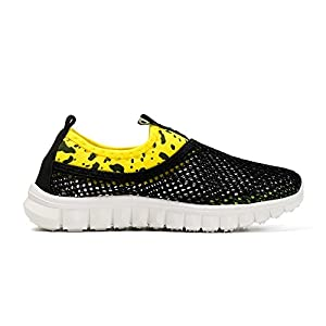 WQINSHOE Kids Breathable Water Shoes Slip-on Sneakers For Running Beach Toddler/Little Kid 02Black 26