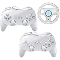 2 x Wii Classic Gamepad controllers for Wii and WiiU wiiremote with bonus steering wheel