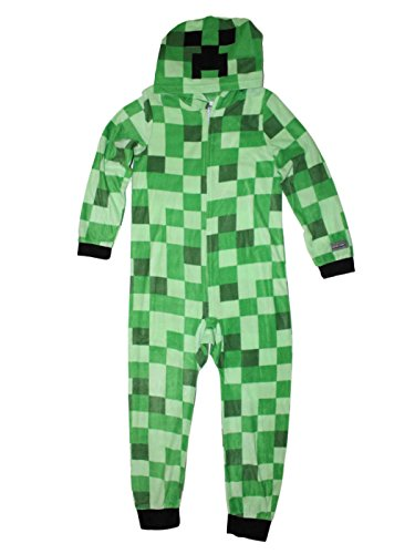 Minecraft Creeper Boys Union Suit Costume Pajamas 4-12 (L (10/12)) - Minecraft Creeper Costume