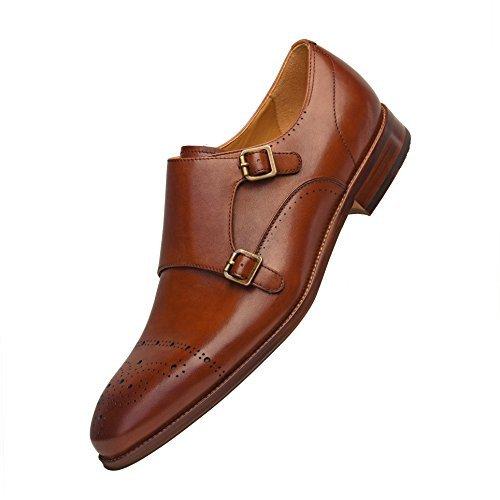 COMOTEK Men's Classic Double Monk Strap Full Grain Leather Shoes,2018 Design-Adroit Tans US12