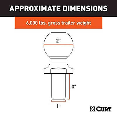 CURT 40020 Chrome Trailer Hitch Ball, 6,000 lbs., 2-Inch Diameter Tow Ball with 1-Inch x 3-Inch Shank: Automotive