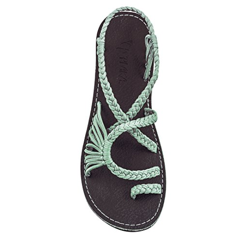 Plaka Flat Summer Sandals For Women Sage Green 9 Palm Leaf
